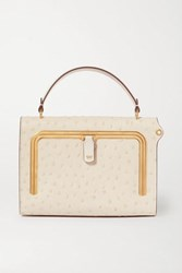 Anya Hindmarch Postbox Small Ostrich Effect Leather Tote White