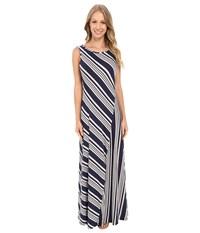 Bobeau Mansi Color Block Stripe Maxi Dress Navy Stripe Women's Dress