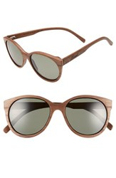 Shwood Women's 'Madison' 54Mm Round Wood Polarized Sunglasses Walnut G15 Polarized Walnut G15 Polarized