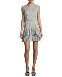 Rebecca Taylor Short Sleeve Tiered Jersey Tank Dress Gray