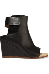 Maison Martin Margiela Leather Wedge Ankle Boots Black