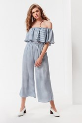 Urban Outfitters Uo Off The Shoulder Ruffle Striped Jumpsuit Blue