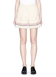 Thom Browne Stripe Textured Cotton Selvedge Tweed Mini Shorts White