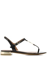Emporio Armani Logo Medallion Thong Sandals Black