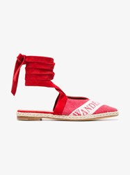 J.W.Anderson Jw Anderson Ruby Red Logo Ballerina Leather Espadrilles