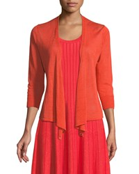 Nic Zoe 4 Way Linen Blend Knit Cardigan Sweater Petite Hot Coral