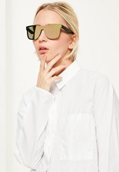 Missguided Gold Flat Mirror Lens Sunglasses Rose