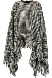 Raoul Fringed Houndstooth Wool Blend Cape Black