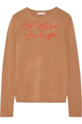 Lingua Franca Don't Believe The Hype Embroidered Cashmere Sweater Sand