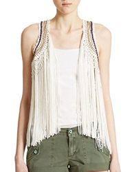Guess Fringed Vest White