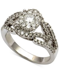 Macy's Diamond Cluster Swirl Ring 1 1 10 Ct. T.W. In 14K White Gold