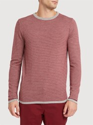 M.Studio Grey And Red Joachim Round Neck Sweater Multicolour
