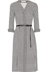 Altuzarra Leppard Belted Houndstooth Stretch Cady Dress Black