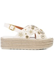 Coach Tea Rose Espadrille Sandals Nude And Neutrals