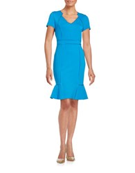 Nue By Shani Knit Sheath Dress Pacific Blue