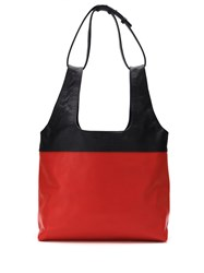 Mara Mac Bicolor Leather Tote Bag Red