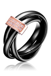 Alberto Moore Simulated Diamond Twisted Triple Ceramic Band Ring Black