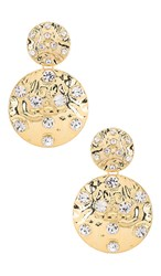 Ettika Double Disk Earring In Metallic Gold. Clear And Gold