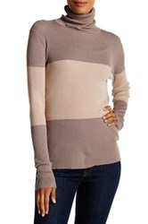 Cullen Colorblock Rib Turtleneck Sweater Beige
