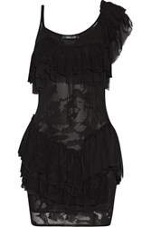 Roberto Cavalli Ruffled One Shoulder Open Knit Mini Dress Black