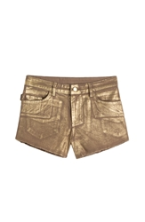 Zadig And Voltaire Paly Metallic Gold Coated Shorts
