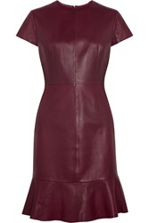 Iris And Ink Olivia Fluted Leather Dress Red