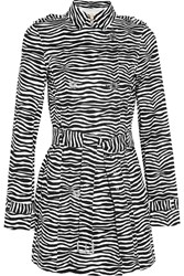 Michael Michael Kors Roxy Zebra Print Stretch Cotton Trench Coat