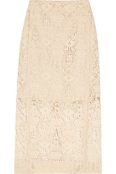 Dkny Flocked Lace Pencil Skirt Cream