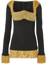 Burberry Metallic Fringe Detail Stretch Jersey Corset Top Black