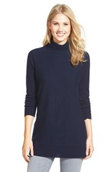 Women's Halogen Cashmere Funnel Neck Tunic Navy Peacoat