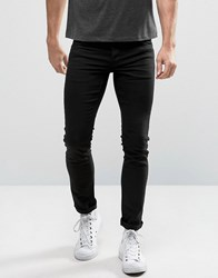 Solid Slim Fit Jeans In Black With Stretch Grey