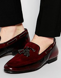 Asos Tassel Loafers In Burgundy Suede And Leather Mix Red