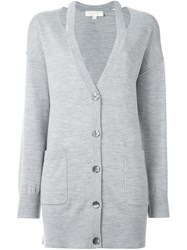 Michael Kors Cut Out Lapels Cardigan Grey