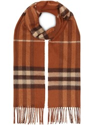 Burberry The Classic Check Cashmere Scarf Brown