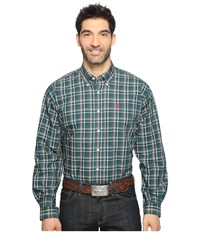 Cinch Long Sleeve Plain Weave Plaid Forest Men's Long Sleeve Button Up Green