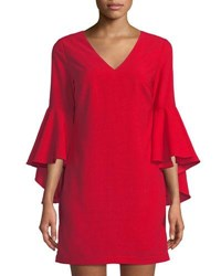 Romeo And Juliet Couture Cascading Bell Sleeve Shift Dress Red