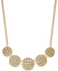 Style And Co. Glitter Openwork Round Frontal Necklace Gold