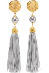 Ben Amun Gold Tone Faux Pearl And Tassel Clip Earrings Gray