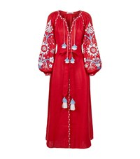 March11 Embroidered Linen Maxi Dress Female
