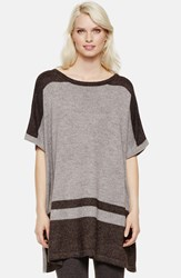 Vince Camuto Border Stripe Poncho Style Sweater Steel Hthr