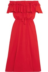 J.Crew Poppy Off The Shoulder Ruffled Cotton And Linen Blend Dress Red