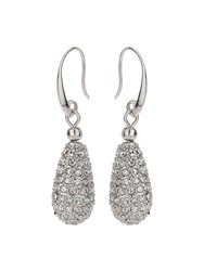 Mikey Oval Crystal Bead Drop Earring White