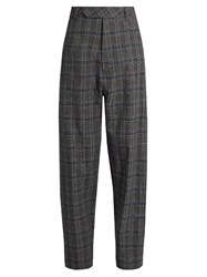 Vetements Prince Of Wales Check Wide Leg Trousers Grey