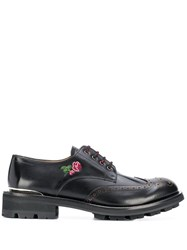Alexander Mcqueen Floral Embroidered Lace Up Shoes Black