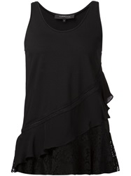 Thakoon Lace Ruffle Tank Top Black