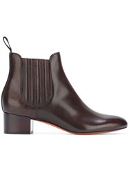 Santoni Glossy Effect Chelsea Boots Brown