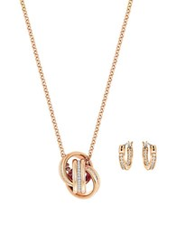 Swarovski Crystal Necklace And Earrings Set Gold