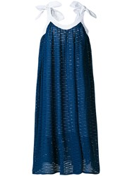 Natasha Zinko Leather Trim Eyelet Dress Blue