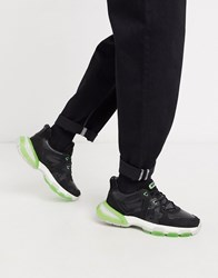 Bronx Sevety Street Trainers In Black And Neon Green Cream