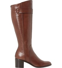 Dune Tommie Leather Knee High Boots Tan Leather